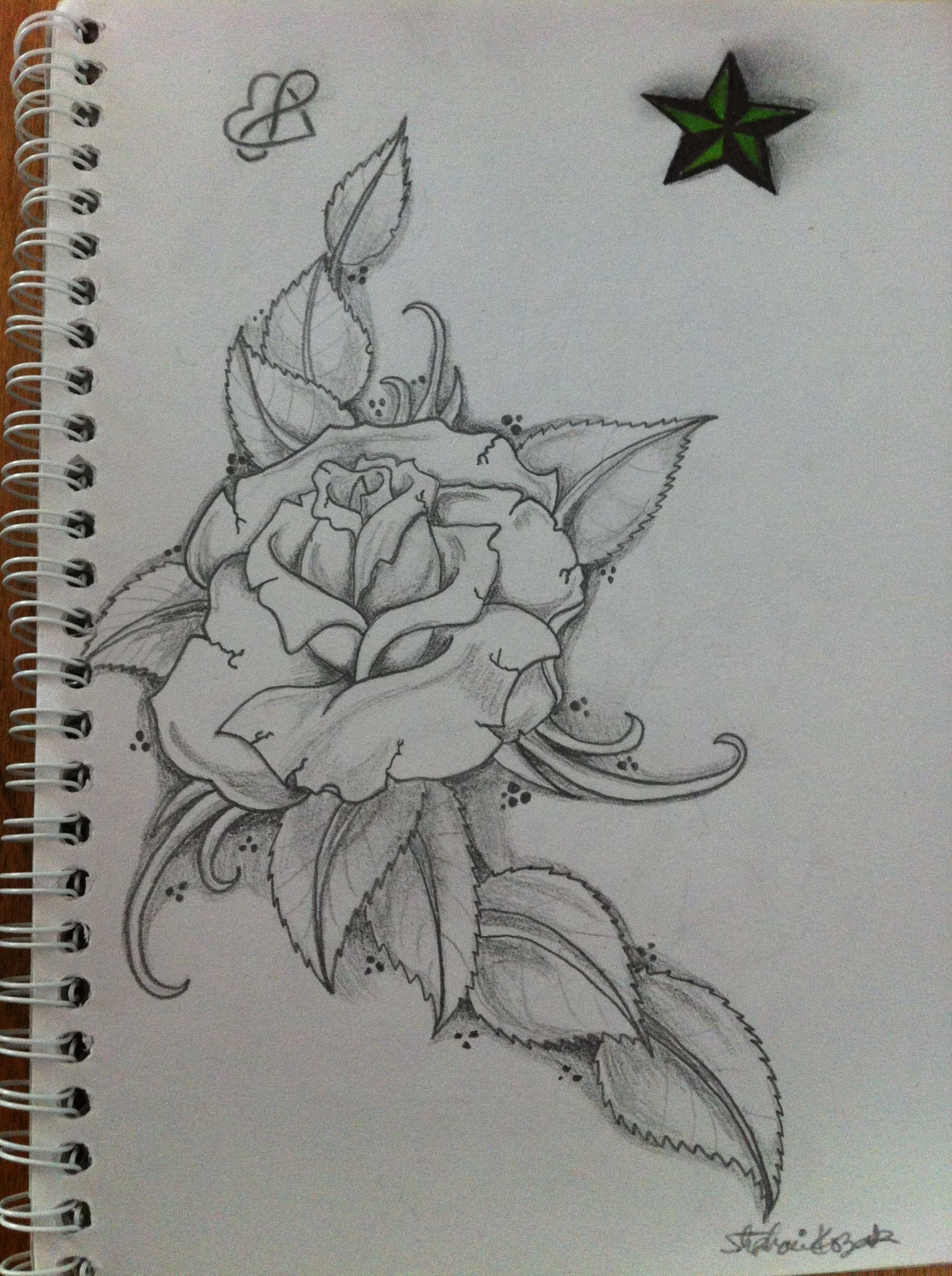 Infinity Heart Five Point Star Green Rose Shading Sketch Ideas And Designs