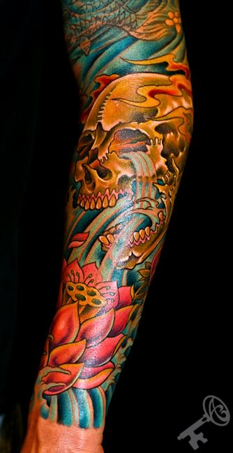 Japanese Watering Skull With Lotus 1 2 Sleeve Ideas And Designs