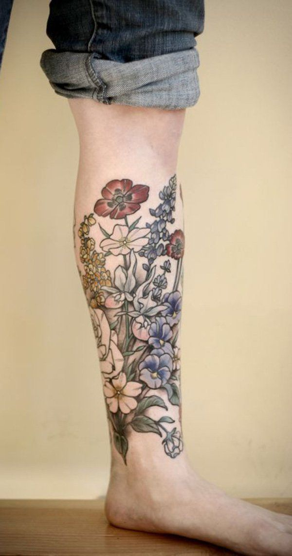 50 Amazing Calf Tattoos Flower Tattoos Tattoos Ideas And Designs