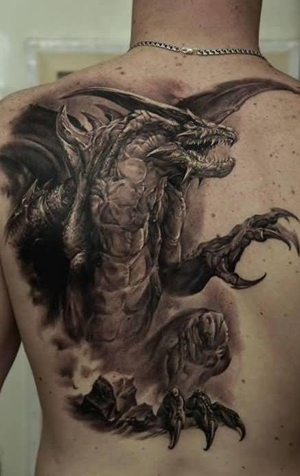 Large Scary 3D Dragon Tattoo On The Back Tattoo S For My Ideas And Designs