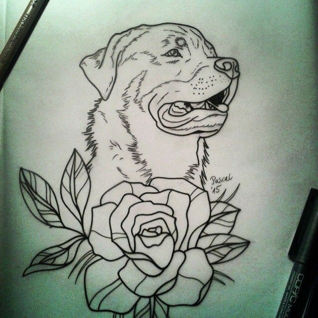 Traditional Outline Rottweiler And Big Flower Tattoo Ideas And Designs