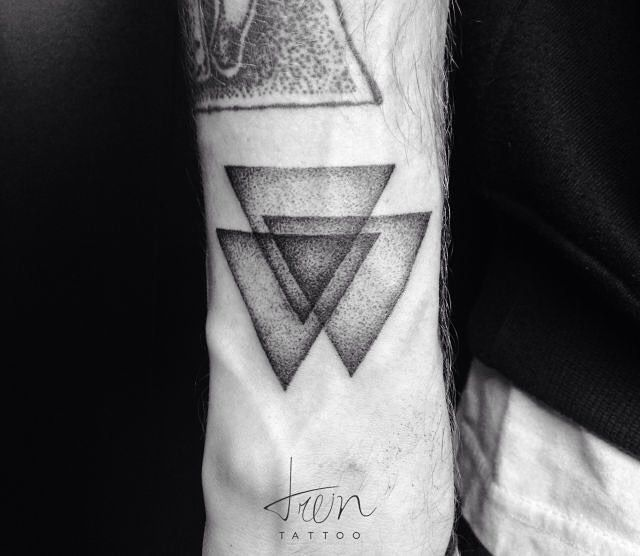 Three Overlapping Triangles Dotwork Tattoo Triangle 3 Ideas And Designs