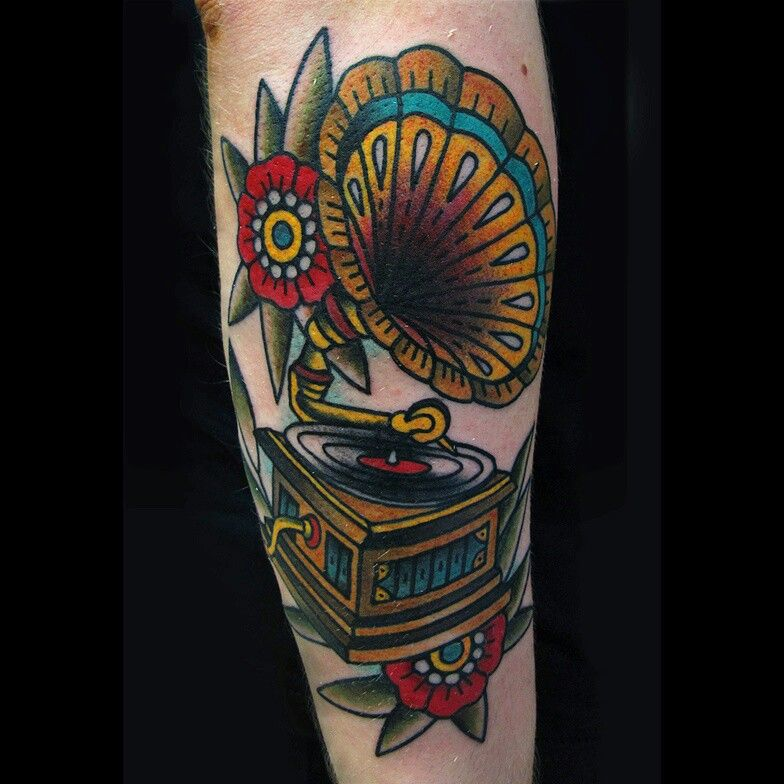 Gramophone Tattoo Traditional By Vassotats Lowbrow Tats Ideas And Designs