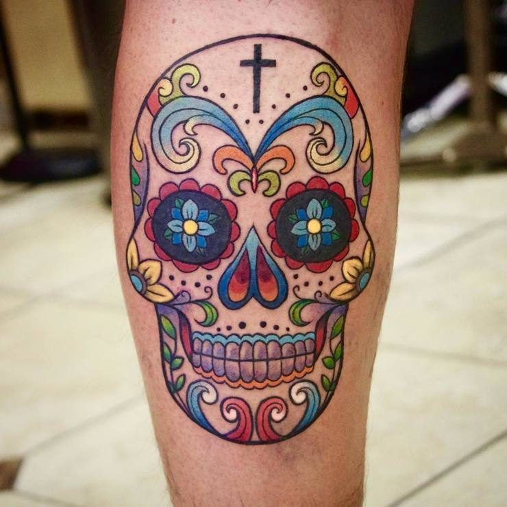 Colorful Sugar Skull Tattoo By Ge Zhang Tattoo Art Ideas And Designs