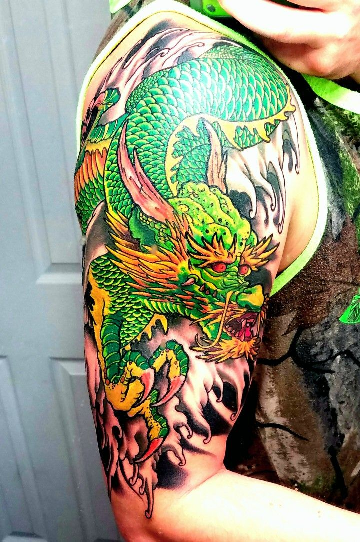Green Dragon Chinese Style Flips Favorite Tattoos Board Ideas And Designs