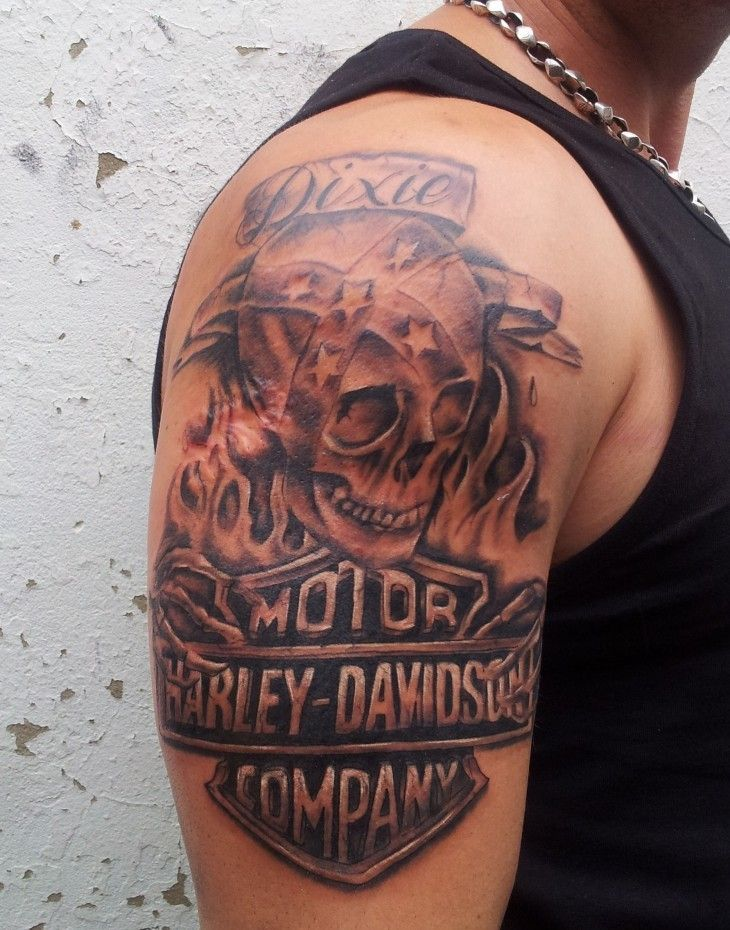 Grey Skull And Harley Davidson Tattoo Design On Right Half Ideas And Designs