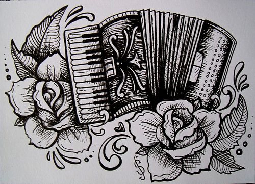 Accordian And Roses Tatto Style Illustration Ideas Ideas And Designs