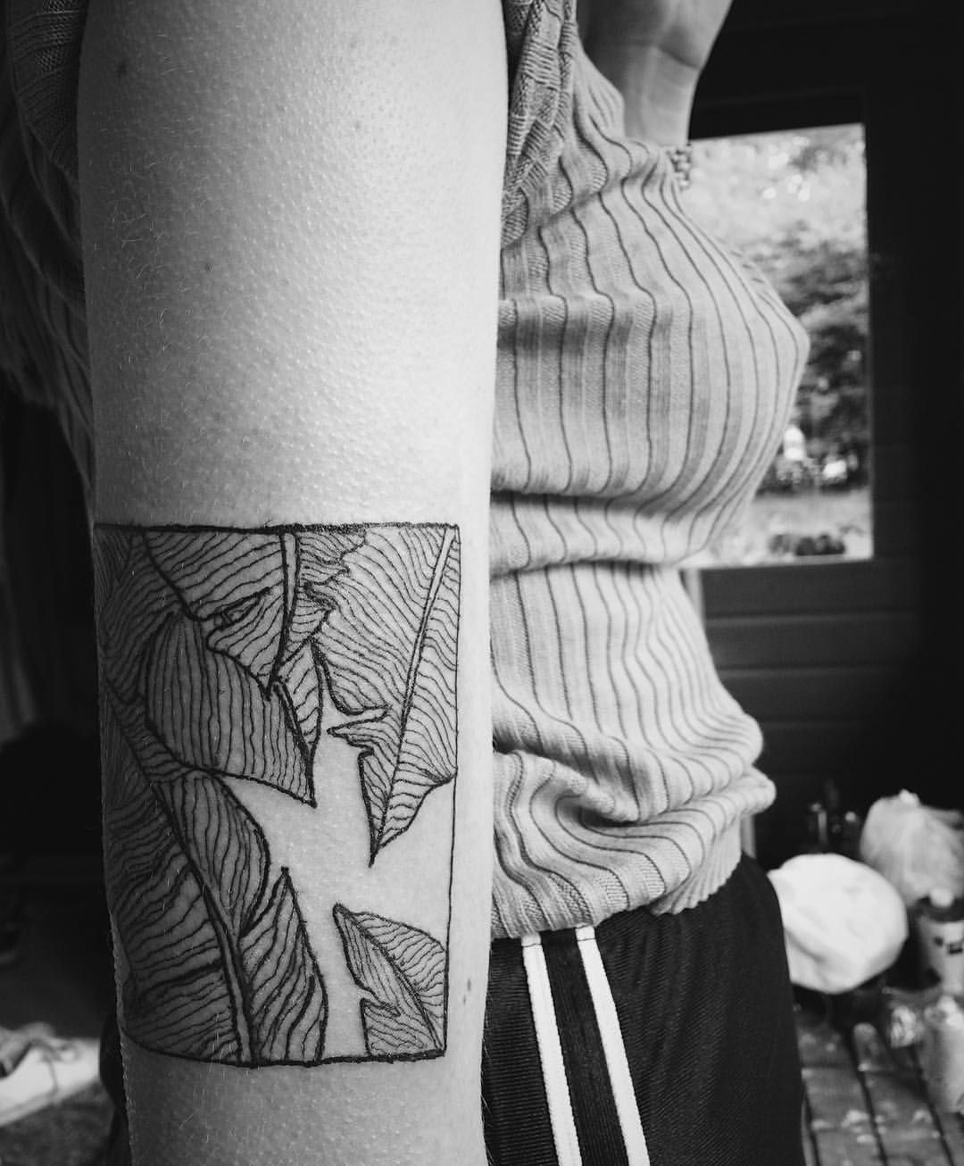 Palm Leaf In A Square By Swedish Tattoo Artist Ideas And Designs