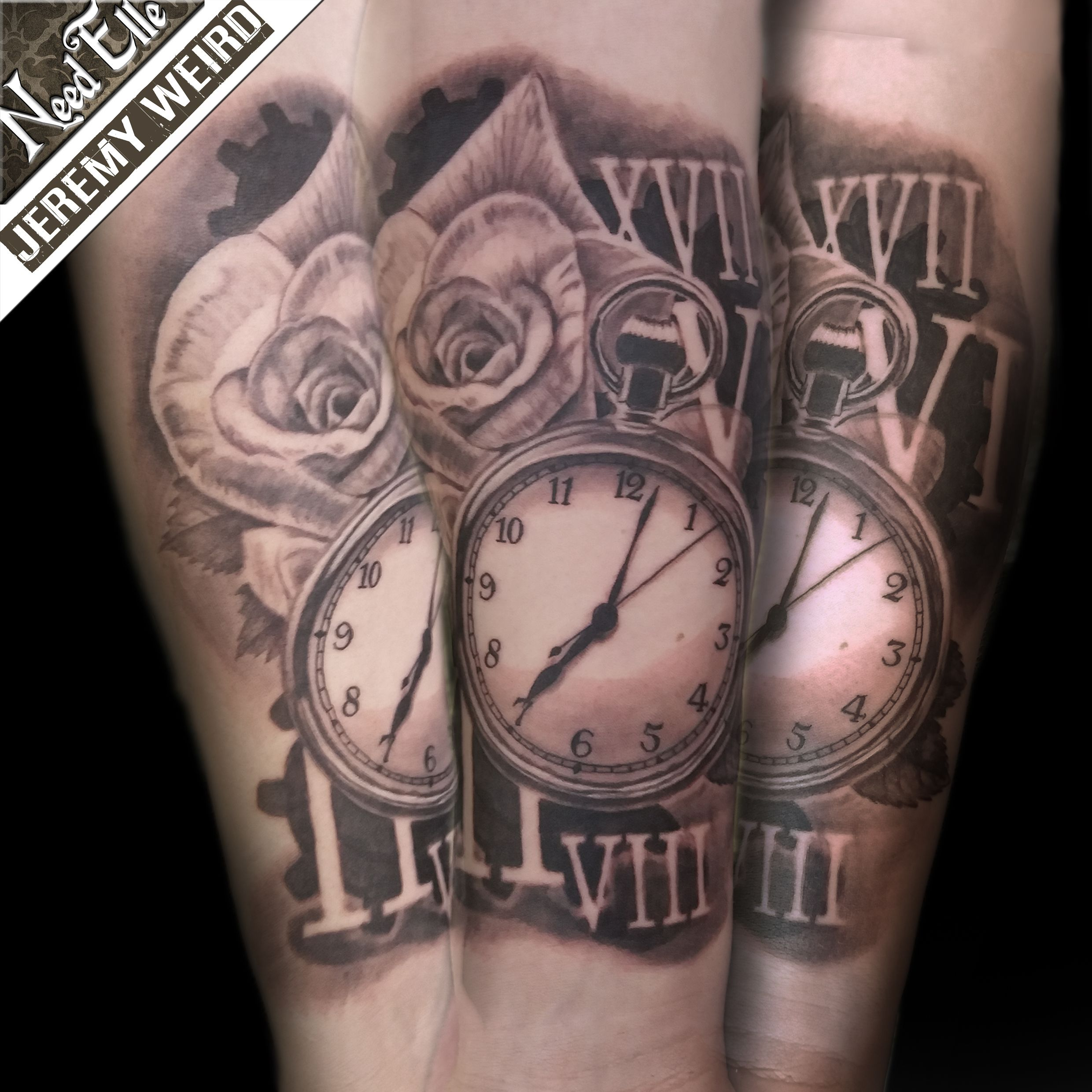 Antic Watch And Rose Tattoo By Jeremy Weird Tatouage Ideas And Designs