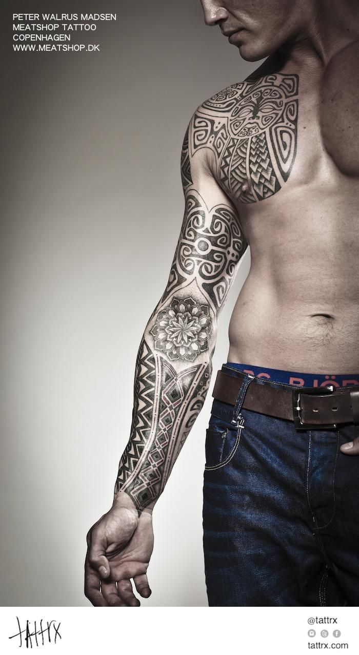 Abstract Aztec Black And White Geometric Tribal Body Ideas And Designs
