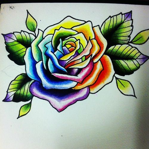 5 Latest Rainbow Rose Tattoo Designs Tattoos Tattoos Ideas And Designs