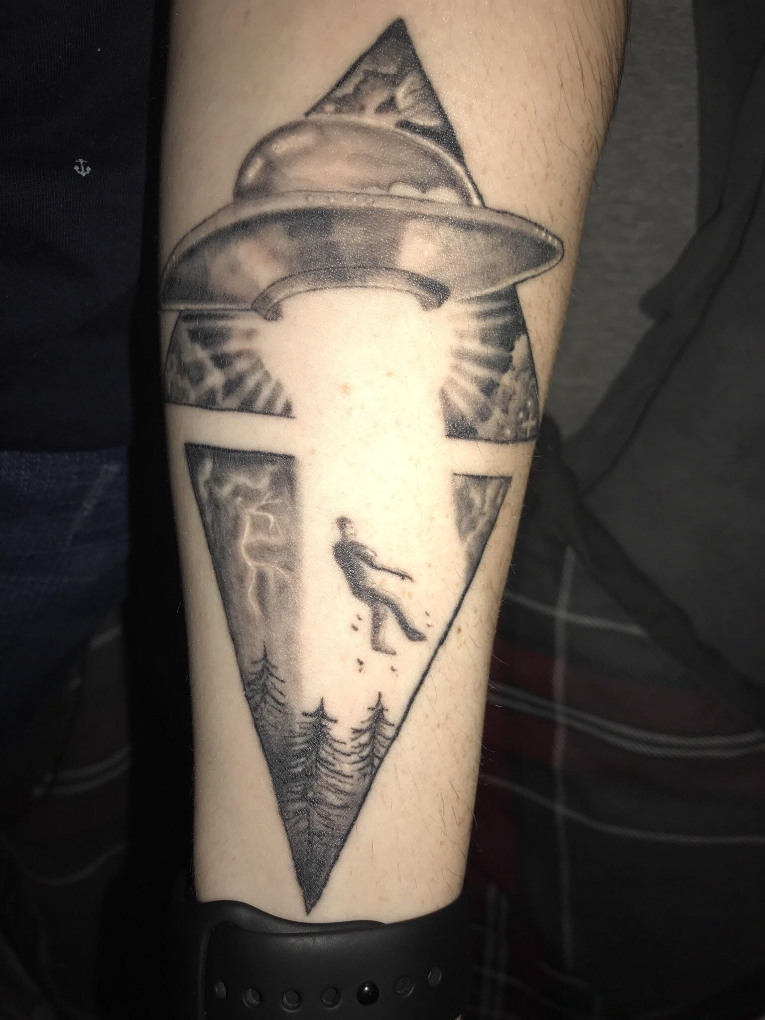 Alien Abduction On Forearm Done By Mark Bell At Defiance Ideas And Designs