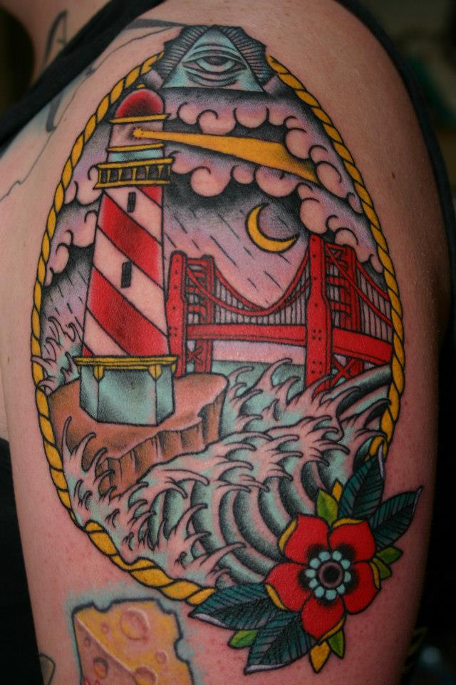 Energy Tattoo Traditional Golden Gate Bridge Arm Piece Ideas And Designs