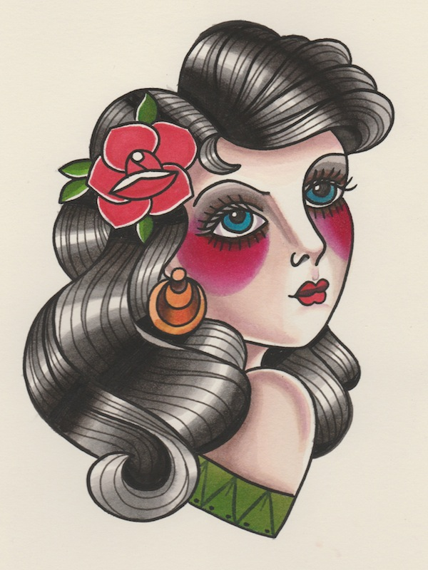 How To Draw A Vintage Pin Up Portrait Tattoo Illustration Ideas And Designs