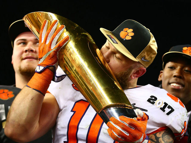 Look Clemson S Boulware Gets National Championship Trophy Ideas And Designs