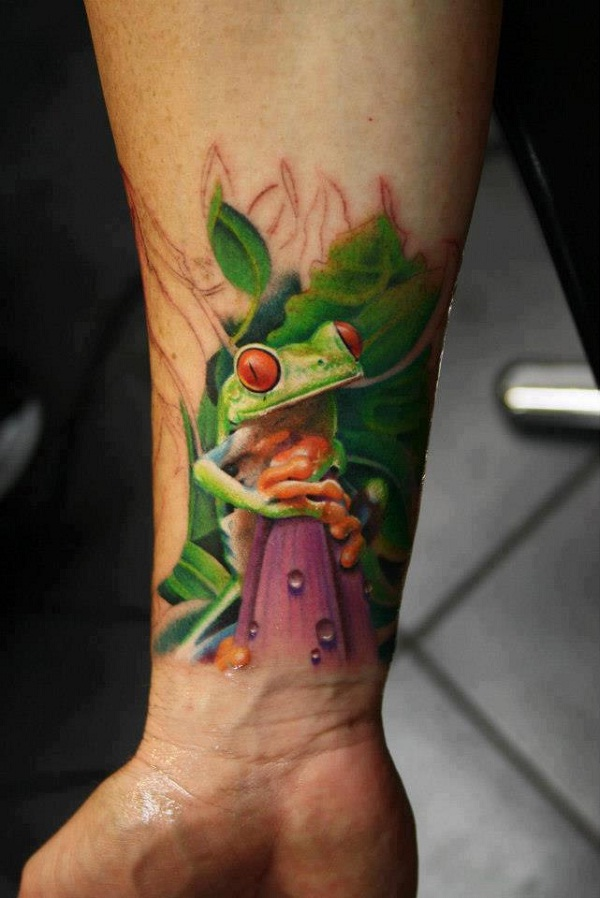 3D Frog Amazing 3D Wrist Tattoos Ideas And Designs