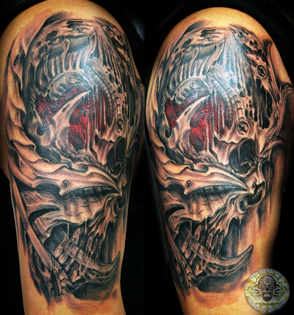 Biomech Skull Face By 2Face Tattoo On Deviantart Ideas And Designs
