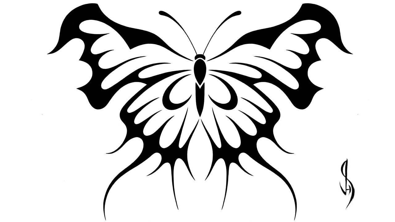 Drawing A Butterfly Tribal Art Tattoo Design Style Youtube Ideas And Designs