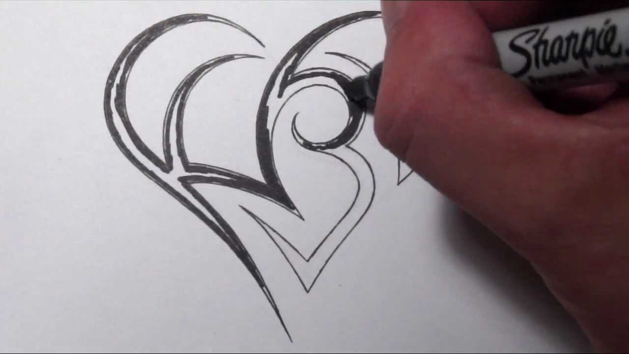 Creating A Heart With Initials Tattoo Design Youtube Ideas And Designs