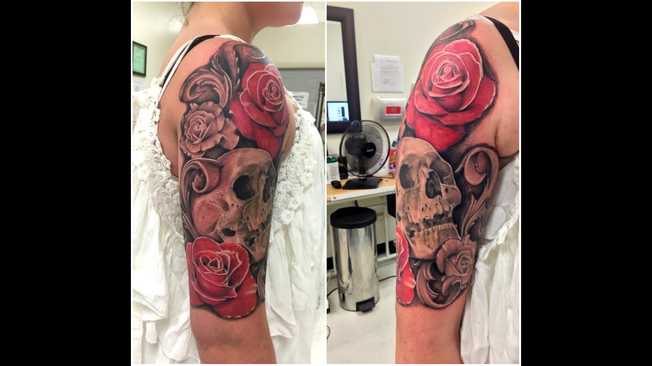 Completed 1 4 Sleeve Roses With Skull And Filigree Wylde Ideas And Designs