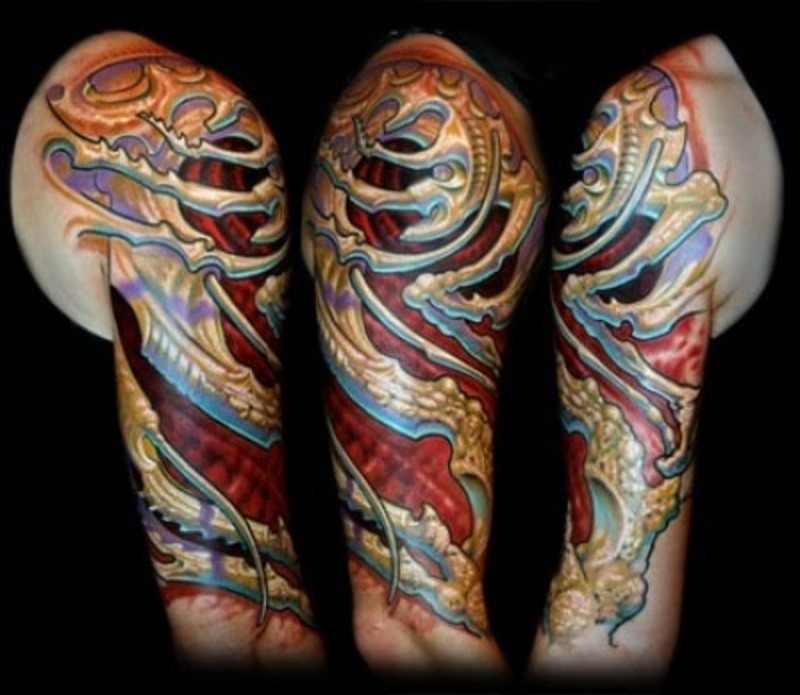 Colorful Biomechanical Tattoo By Guy Aitchison Design Of Ideas And Designs