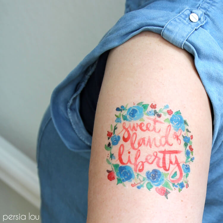 Watercolor Fourth Of July Temporary Tattoos Persia Lou Ideas And Designs