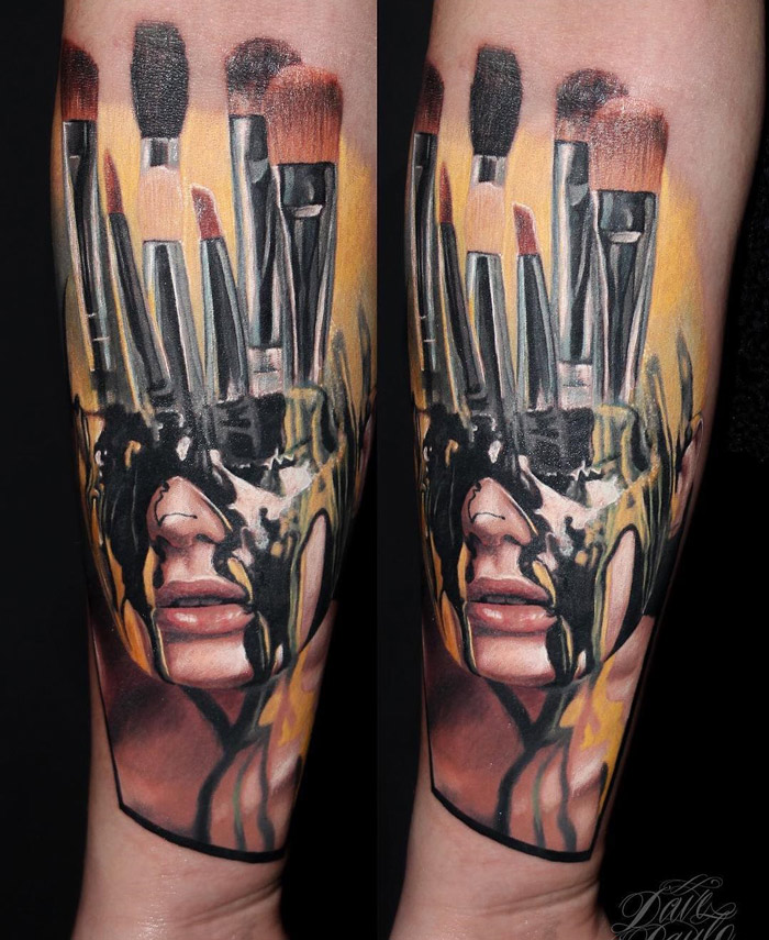 Stairs Clock Portrait Sleeve Best Tattoo Design Ideas Ideas And Designs