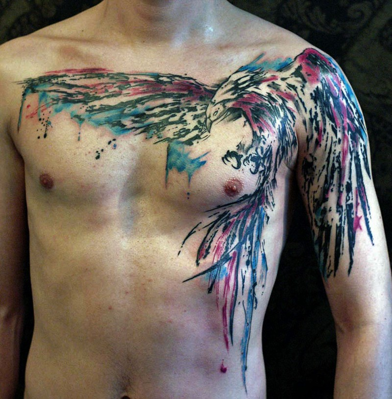 Large Colored Bird Tattoo On Chest Tattooimages Biz Ideas And Designs