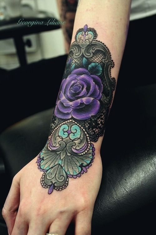 Very Beautiful Colored Big Floral Tattoo On Wrist Ideas And Designs