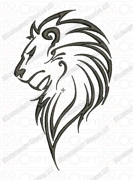 Lion Outline Tribal Embroidery Design In 3X3 4X4 And 5X7 Sizes Ideas And Designs