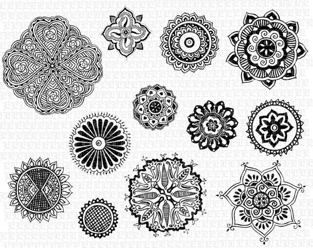 Printable Henna Tattoo Floral Motifs Mandalas Digital Graphics Ideas And Designs