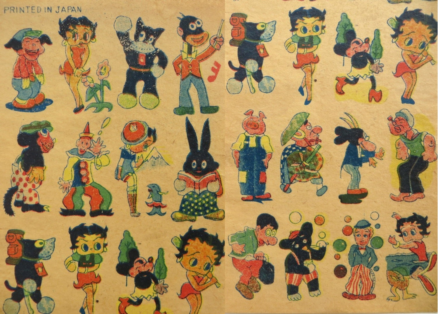 Antique Japanese Cartoon Tattoo Flash Art Rare Odd 1930S Ideas And Designs