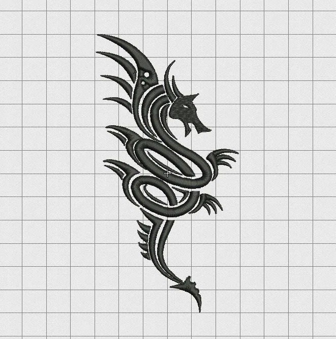 Dragon Tribal Tattoo Style Embroidery Design In 3X3 4X4 5X5 Ideas And Designs