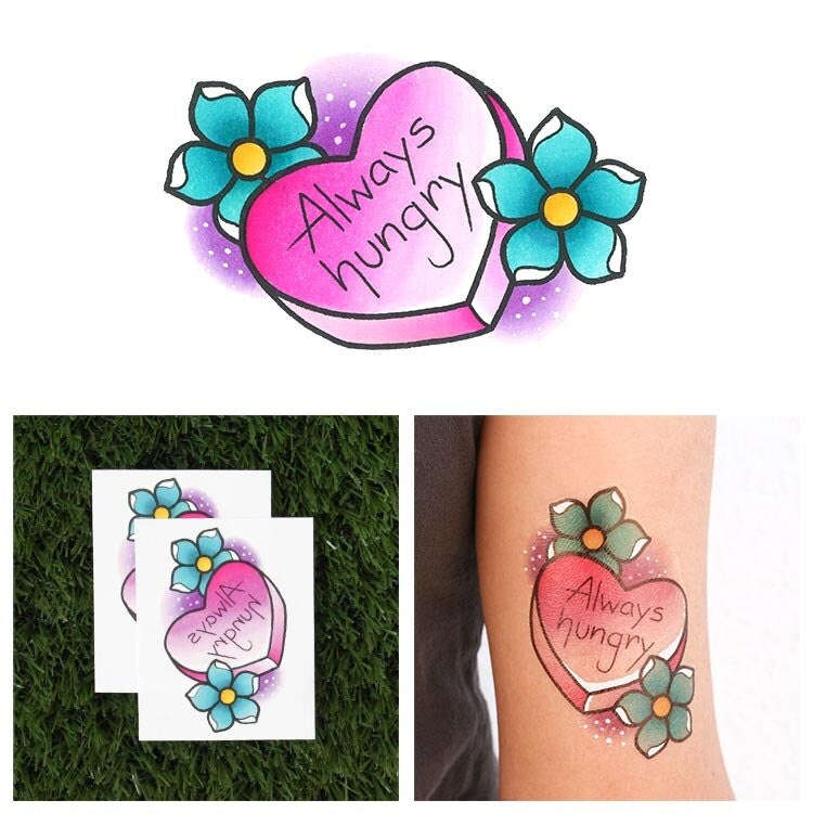 Big Appetite Candy Heart Temporary Tattoo Set Of 2 Ideas And Designs
