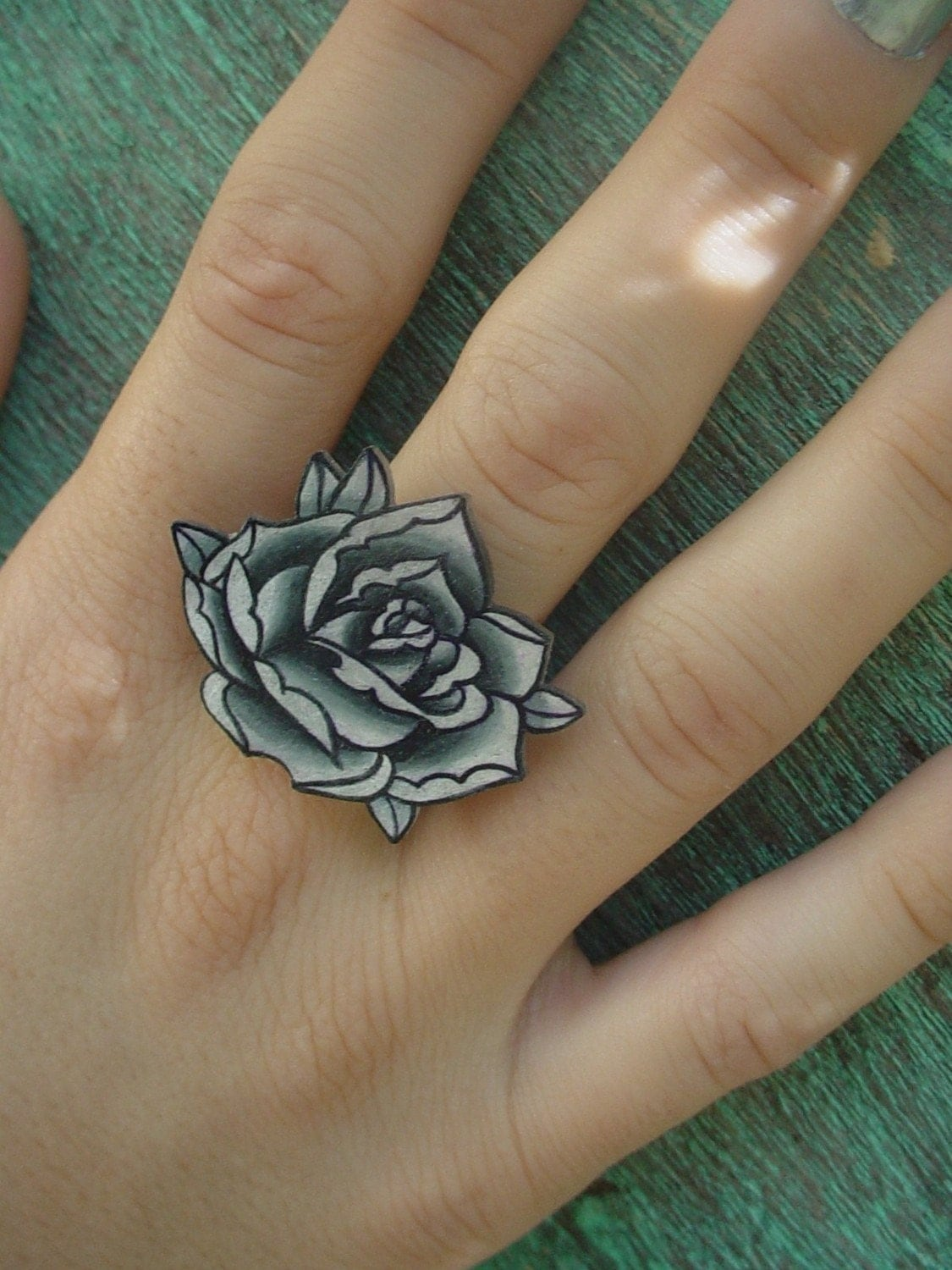 Big Vintage Black And White Surreal Tattoo Rose Ring Ideas And Designs