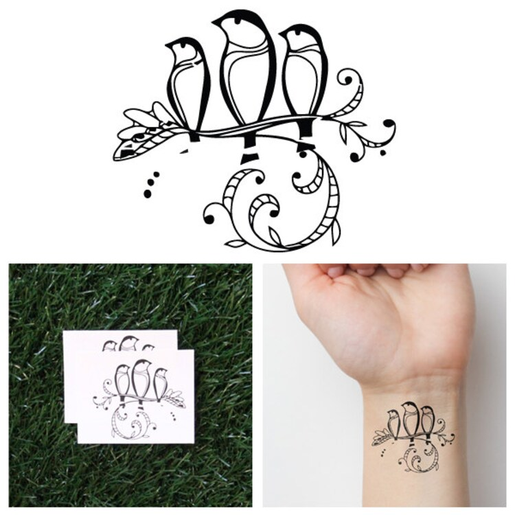 Three Little Birds Temporary Tattoo Set Of 2 By Tattify On Ideas And Designs