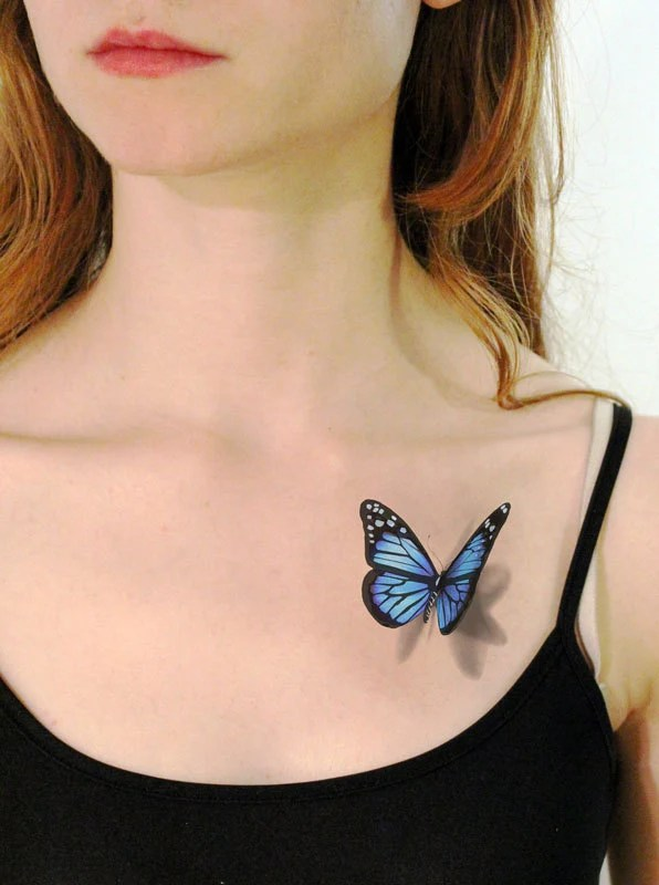 3D Blue Butterfly Temporary Tattoo Looks Like If By Tattoomint Ideas And Designs