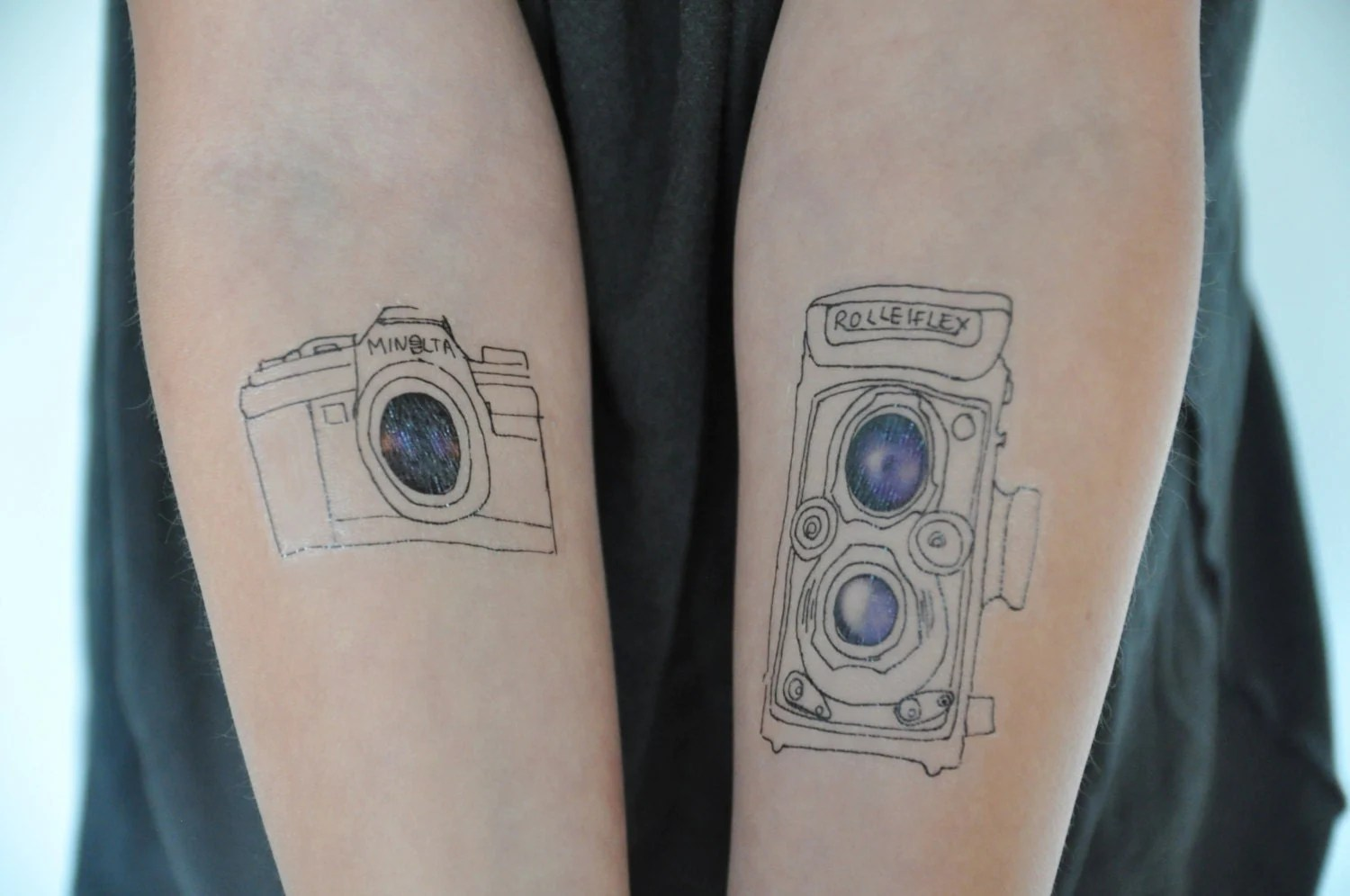 Film Cameras Temporary Tattoo Modern Illustration Large Ideas And Designs