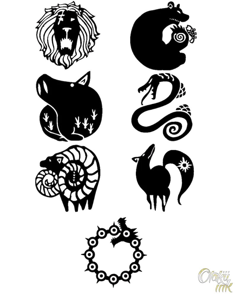 The Seven Deadly Sins Cosplay Temporary Tattoos By Otaku Ideas And Designs