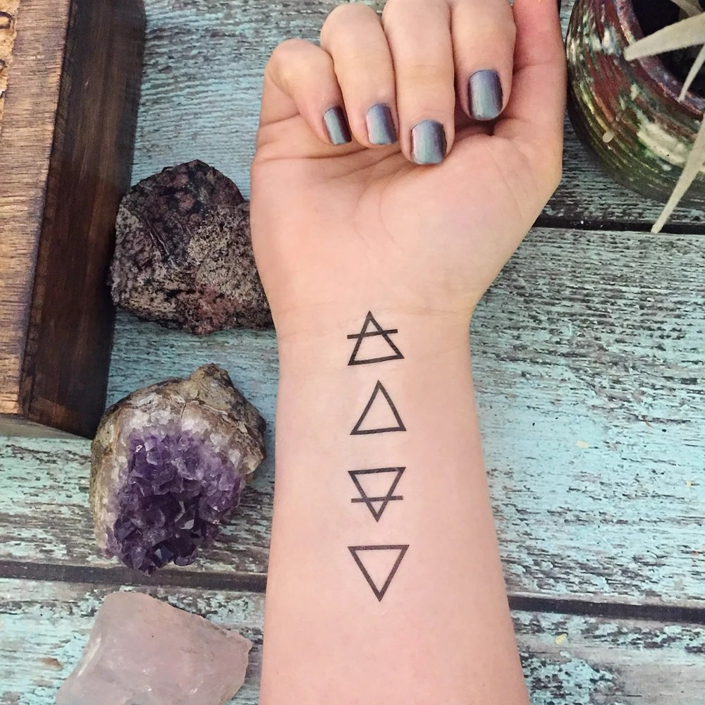 Temporary Tattoo Elemental Element Symbols Etsy Ideas And Designs