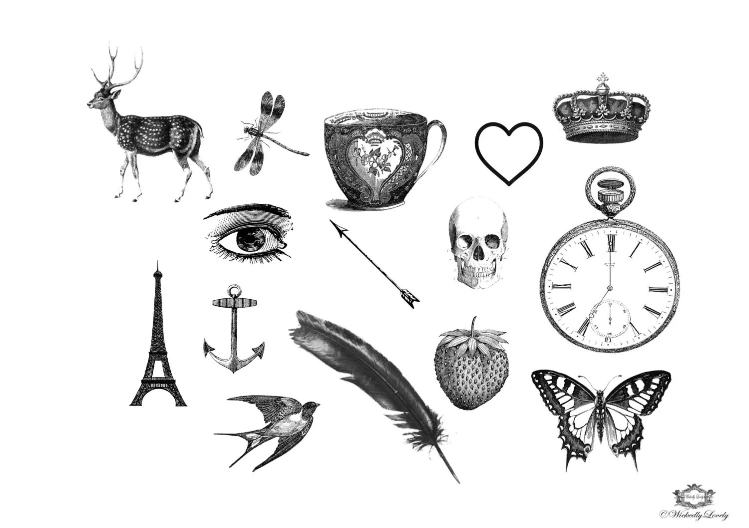 15 Whimiscal Assorted Vintage Tattoos Small Tattoos Ideas And Designs
