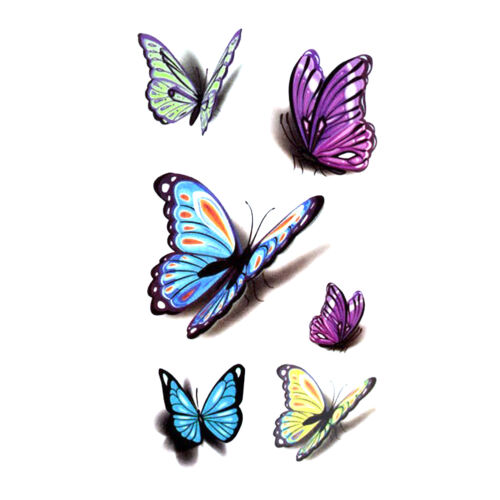 10 Pcs Women Removable 3D Butterfly Tattoo Sticker Ideas And Designs