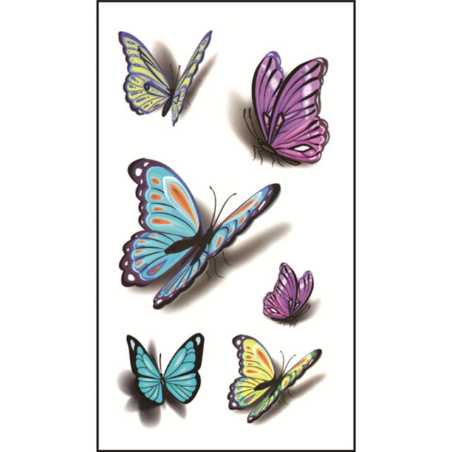 3D Butterfly Temporary Tattoos Sticker Body Art Removable Ideas And Designs