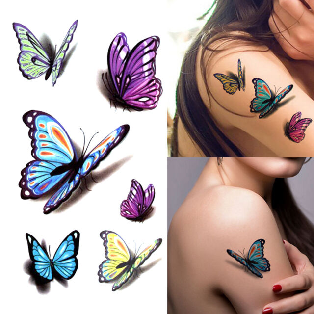 3D Butterfly Tattoo Sticker Temporary Body Art Waterproof Ideas And Designs