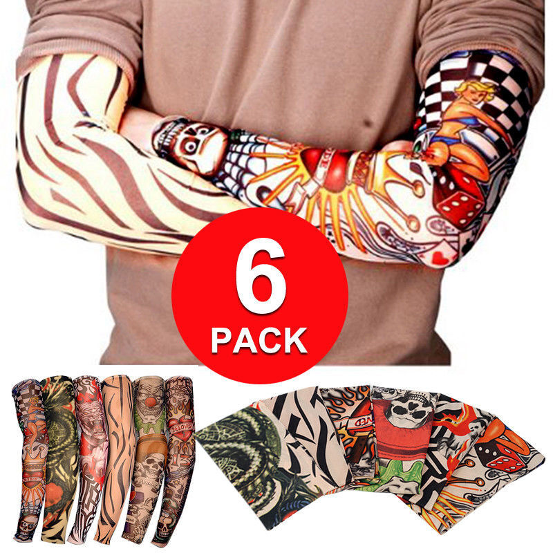 6 Pack Fake Nylon Temporary Tattoo Sleeves Arm Stockings Ideas And Designs