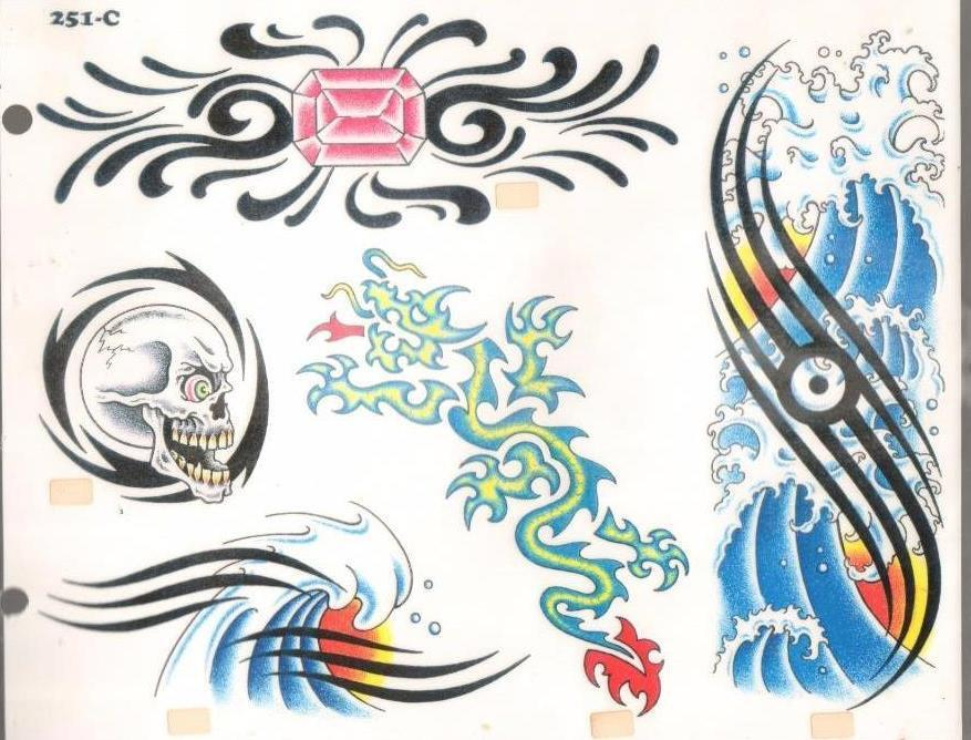 1980S 251C Wave Skull Ruby 11 X 14 Tattoo Design Sheet Ideas And Designs