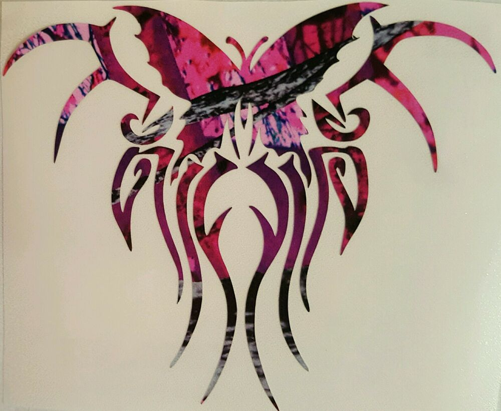 Pink Purple Camo Butterfly Tribal Truck Vinyl Decal 5 Ideas And Designs