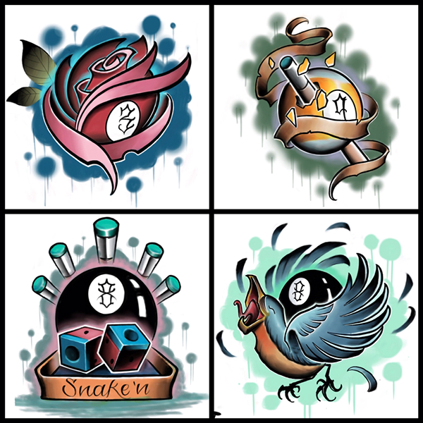 Billiards Tattoo Flash On Behance Ideas And Designs