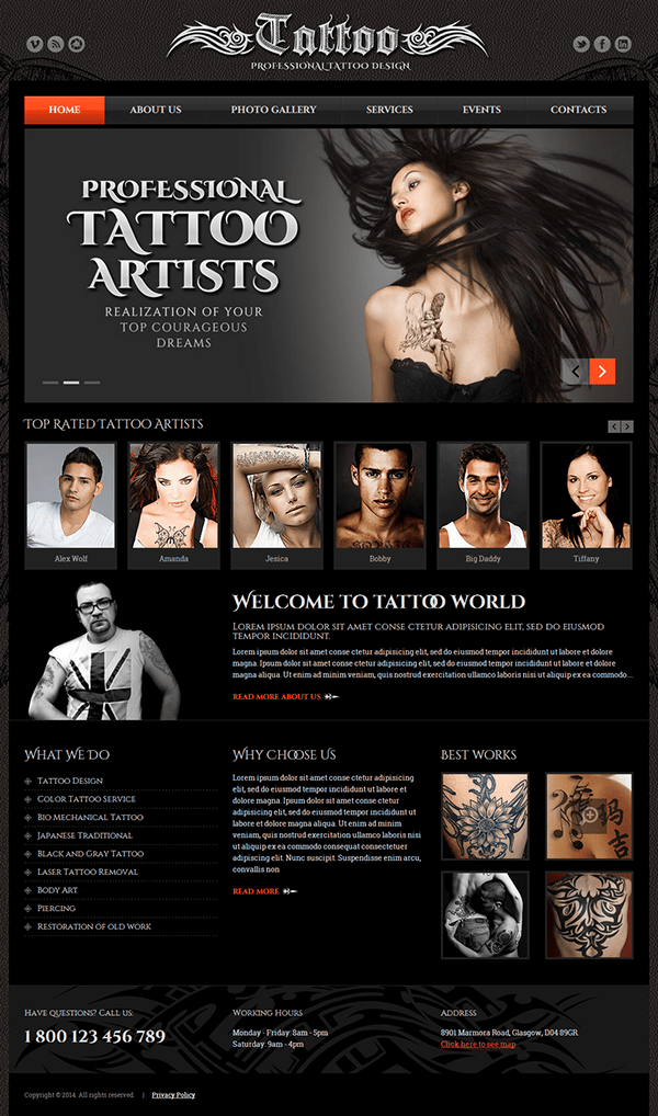 Tattoo Design Html Template On Behance Ideas And Designs