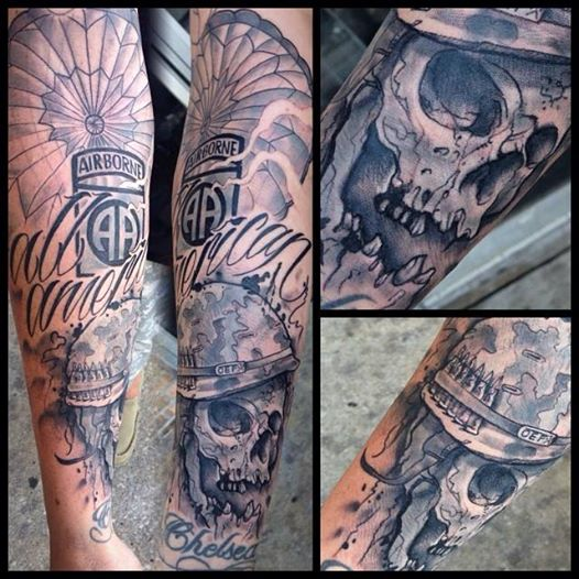 Airborne Parachute Skull – Bobby Ink Tattoos Ideas And Designs